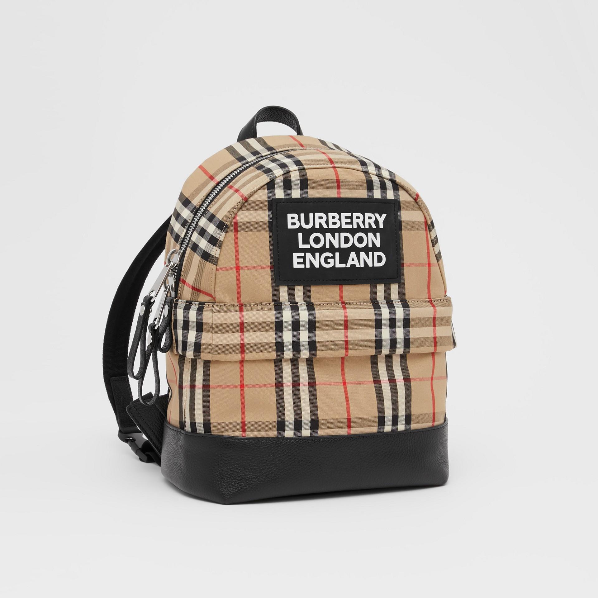 Logo Appliqué Vintage Check Backpack in Archive Beige - Children | Burberry United Kingdom - gallery image 4