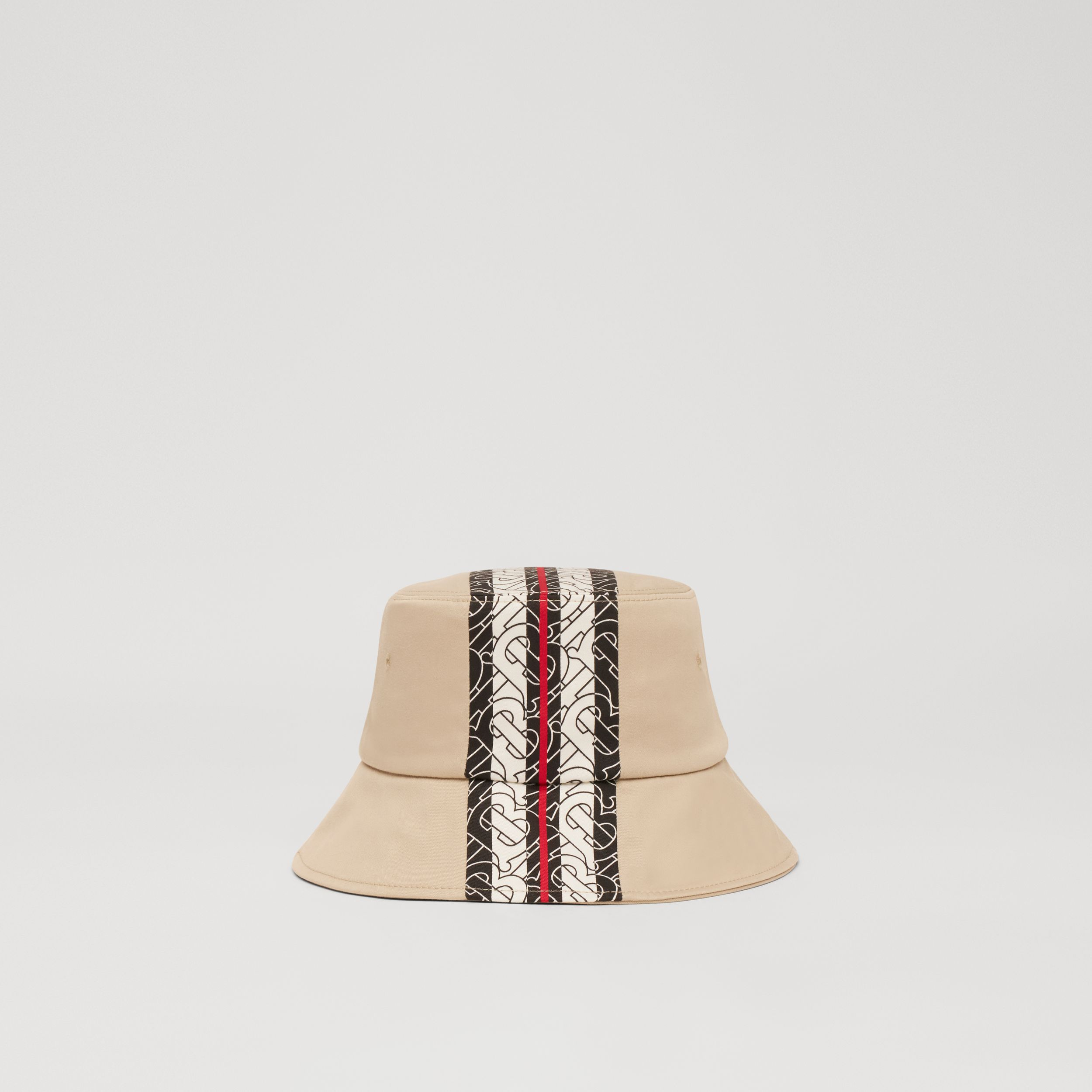 Monogram Stripe Print Cotton Bucket Hat in Stone - Children | Burberry - 4