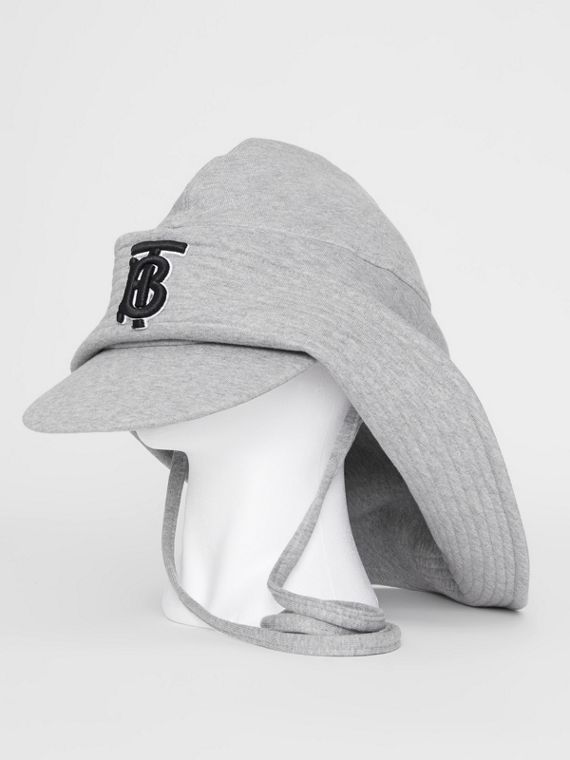 Monogram Motif Rain Hat in Light Grey Melange