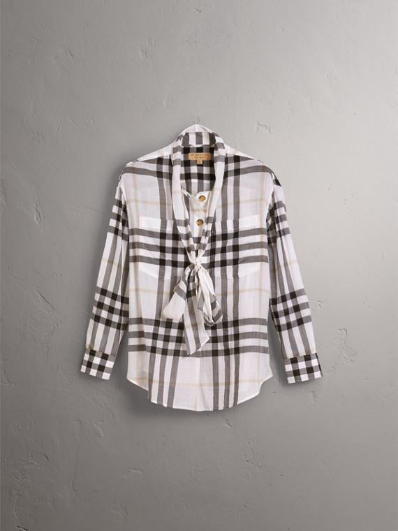 Check Tie Neck Cotton Shirt in White - Women | Burberry - cell image 3
