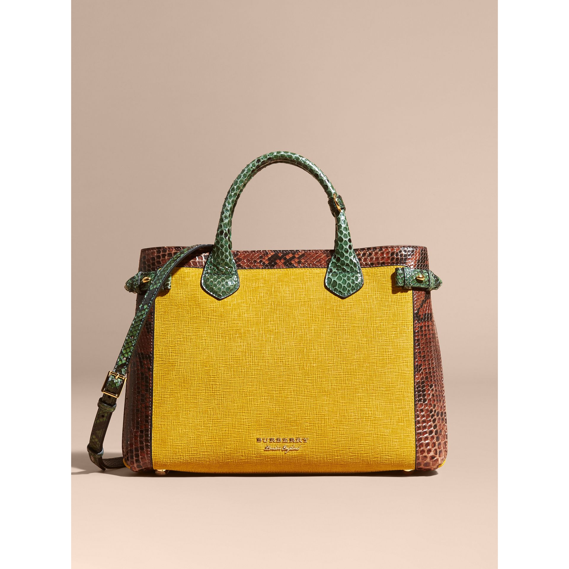 The Medium Banner in Leather, Python and House Check in Larch Yellow - Women | Burberry Singapore - gallery image 9