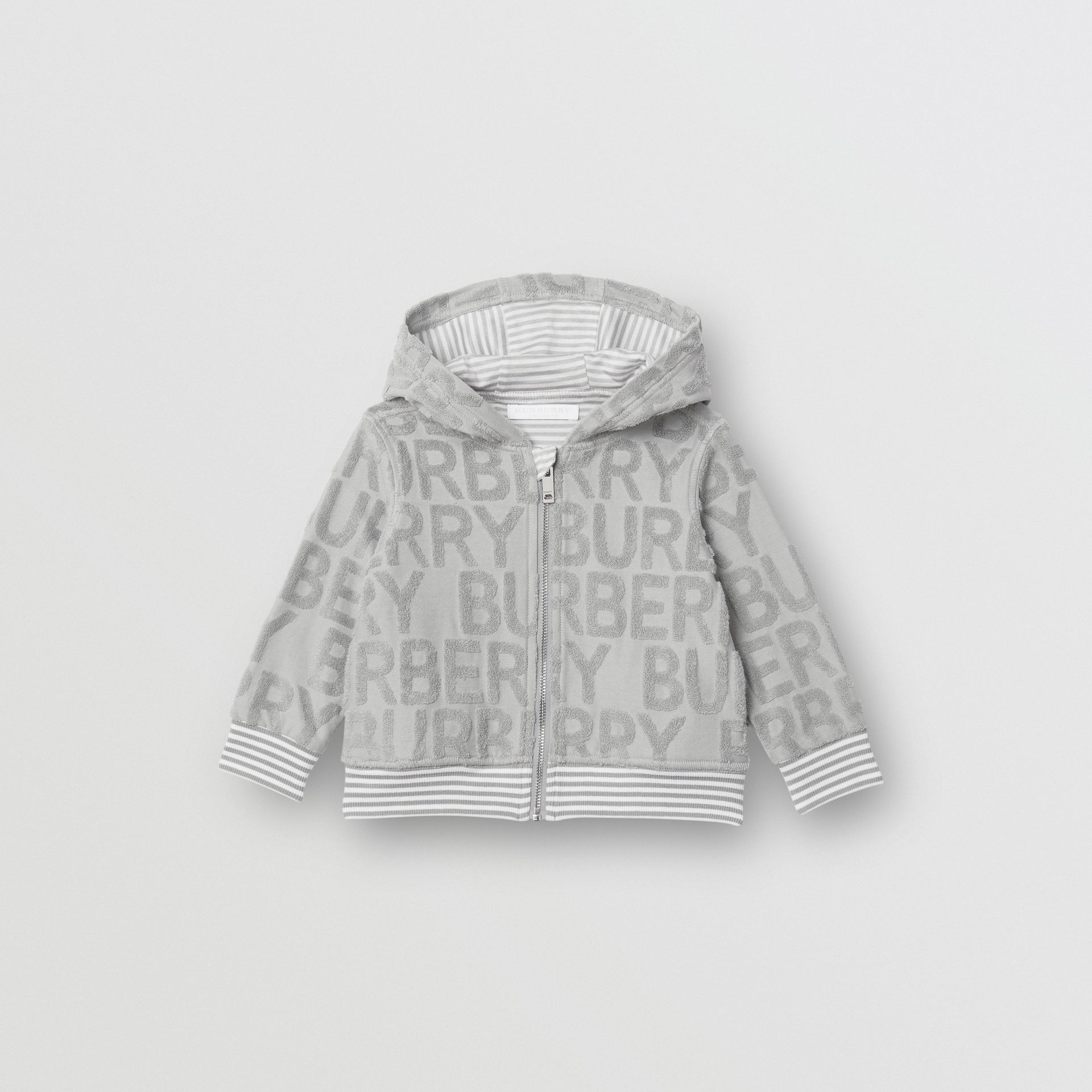 Logo Towelling Hooded Top in Pale Grey - Children | Burberry United Kingdom - gallery image 0