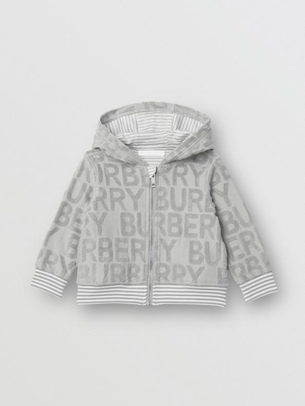 Logo Towelling Hooded Top in Pale Grey