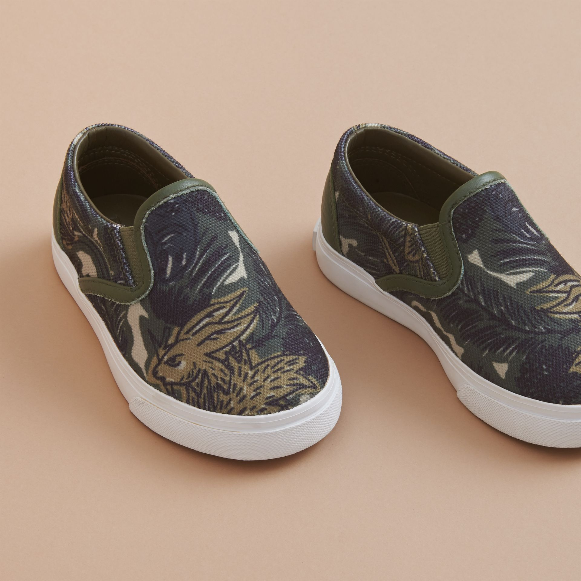 Beasts Print Cotton and Leather Slip-on Trainers in Clay Green | Burberry Hong Kong - gallery image 3