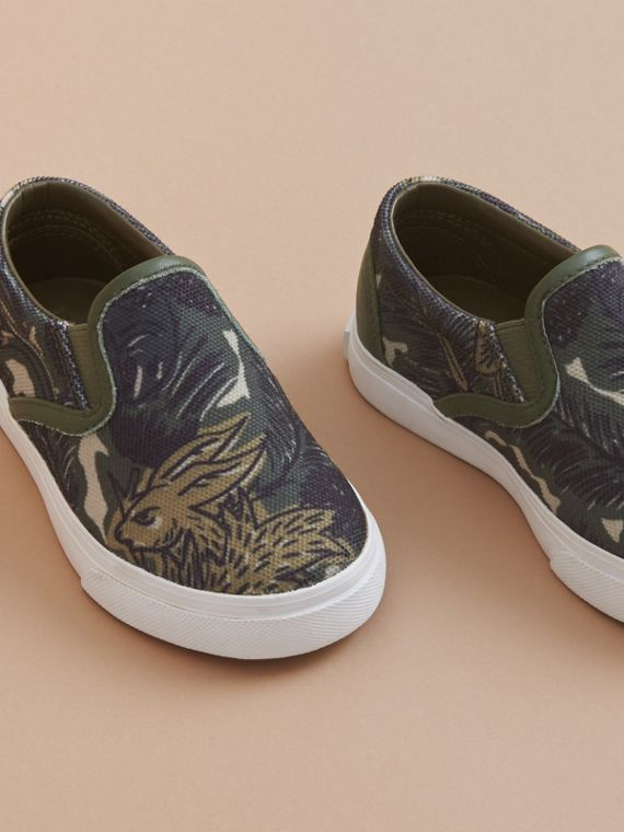 Beasts Print Cotton and Leather Slip-on Trainers in Clay Green | Burberry Hong Kong - cell image 2