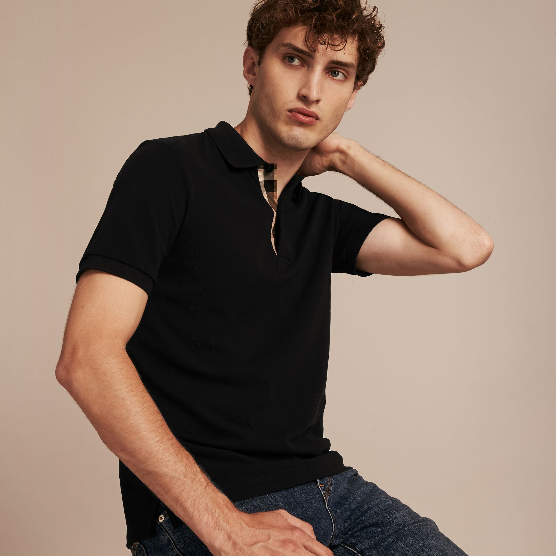Check Placket Cotton Piqué Polo Shirt in Black - Men | Burberry - gallery image 6