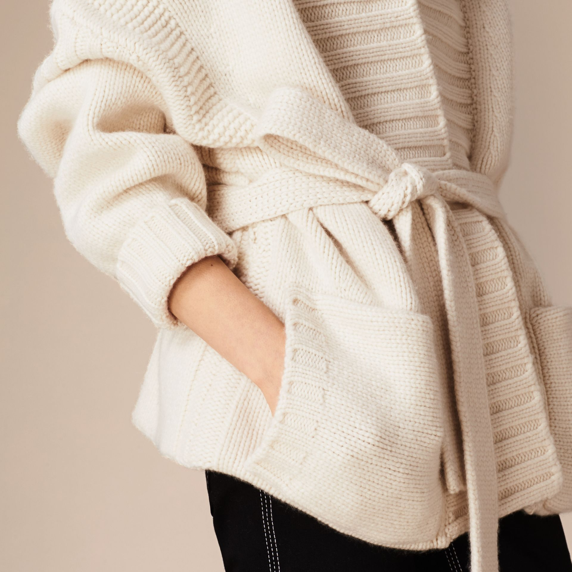 White Knitted Cashmere Belted Cardigan - gallery image 5