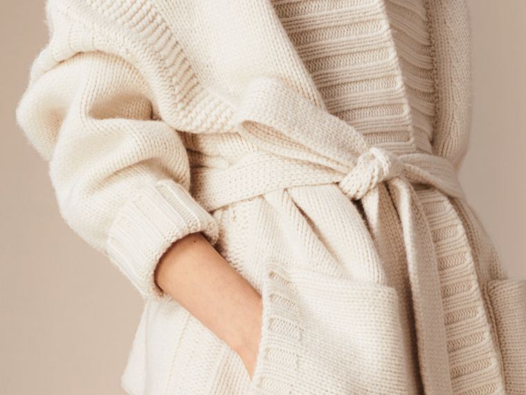 White Knitted Cashmere Belted Cardigan - cell image 4