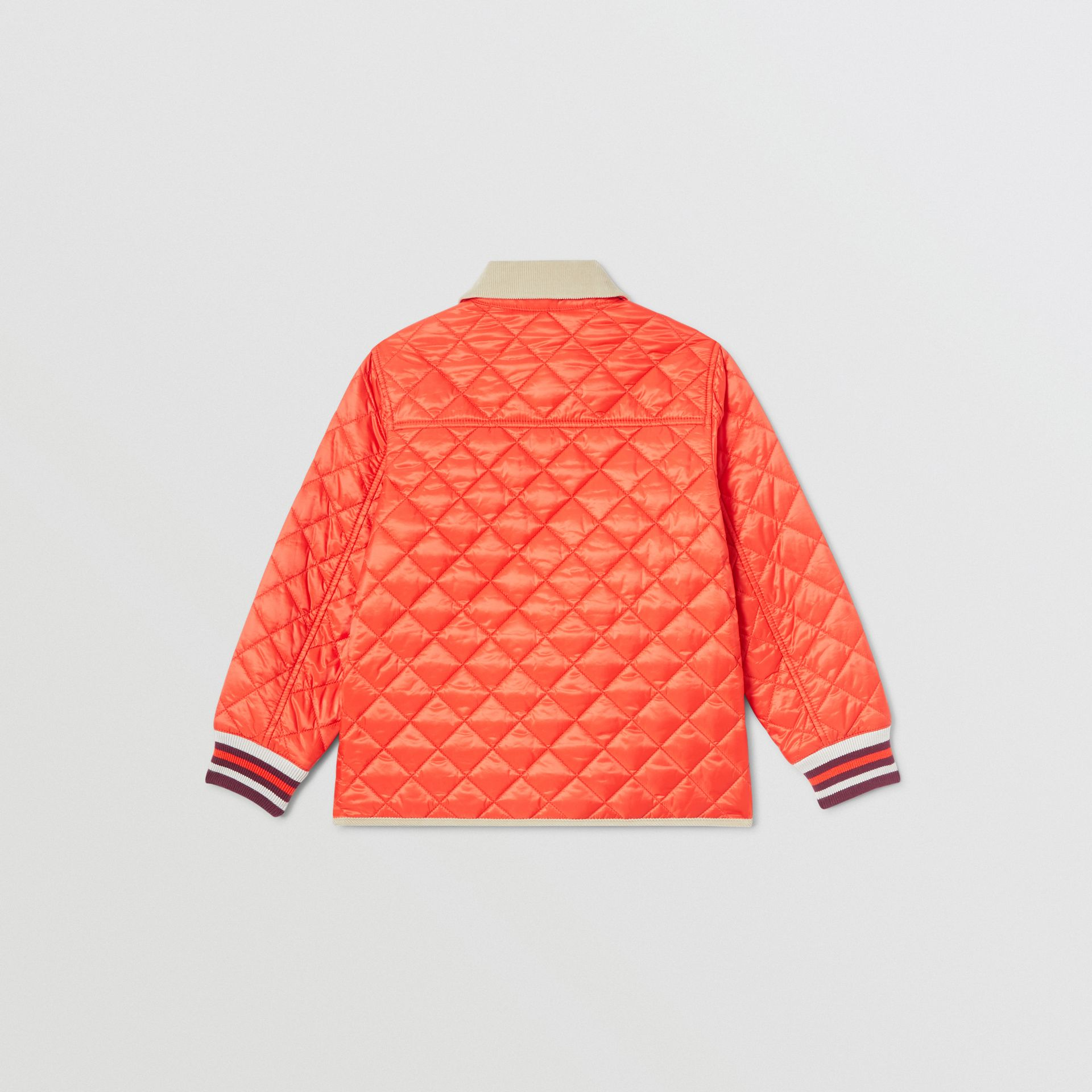 Corduroy Trim Lightweight Diamond Quilted Jacket in Bright Coral Orange | Burberry - gallery image 4