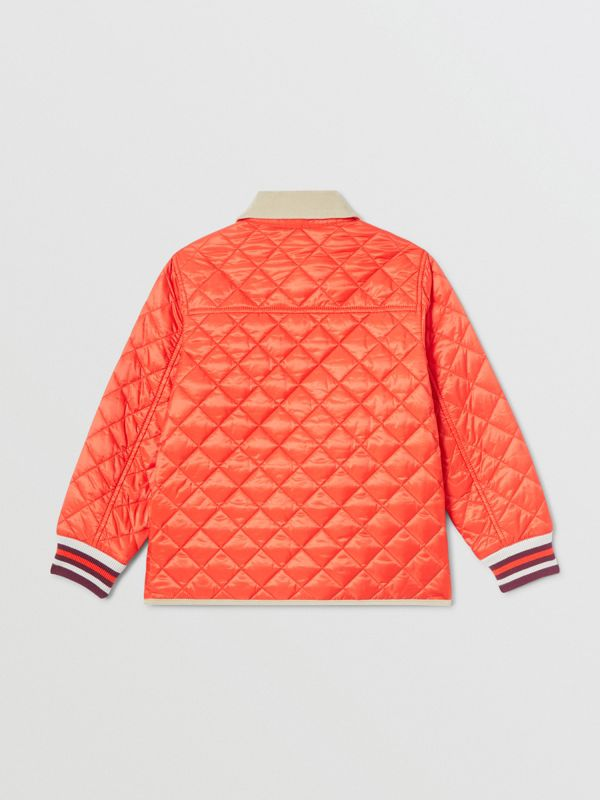 Corduroy Trim Lightweight Diamond Quilted Jacket in Bright Coral Orange | Burberry Australia - cell image 3