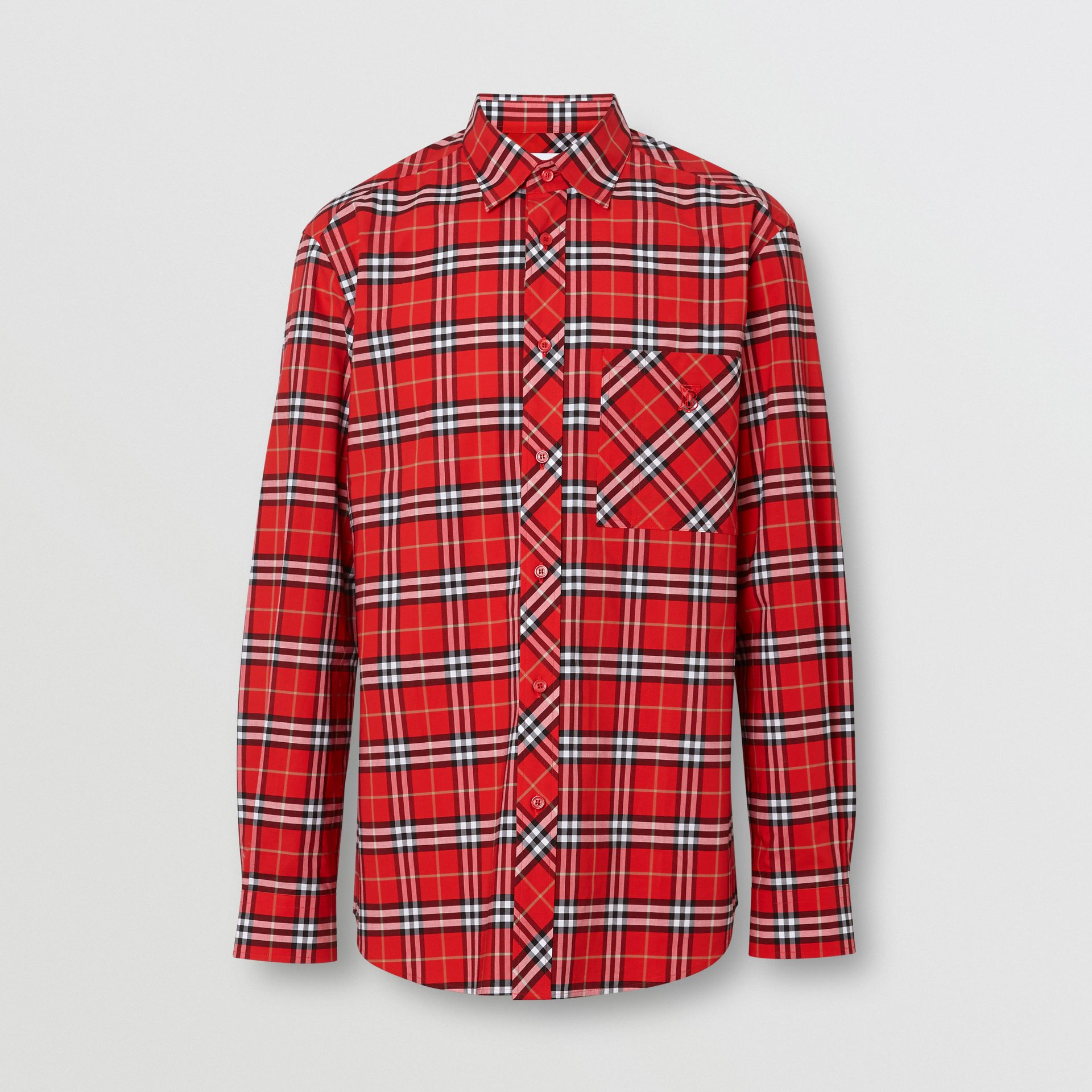 Small Scale Check Stretch Cotton Shirt in Cadmium Red - Men | Burberry - gallery image 3