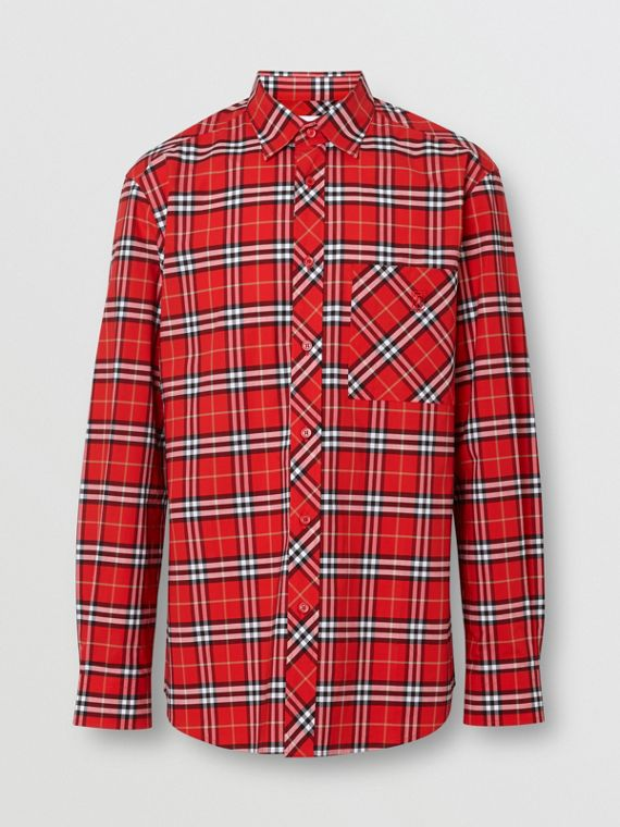 Small Scale Check Stretch Cotton Shirt in Cadmium Red
