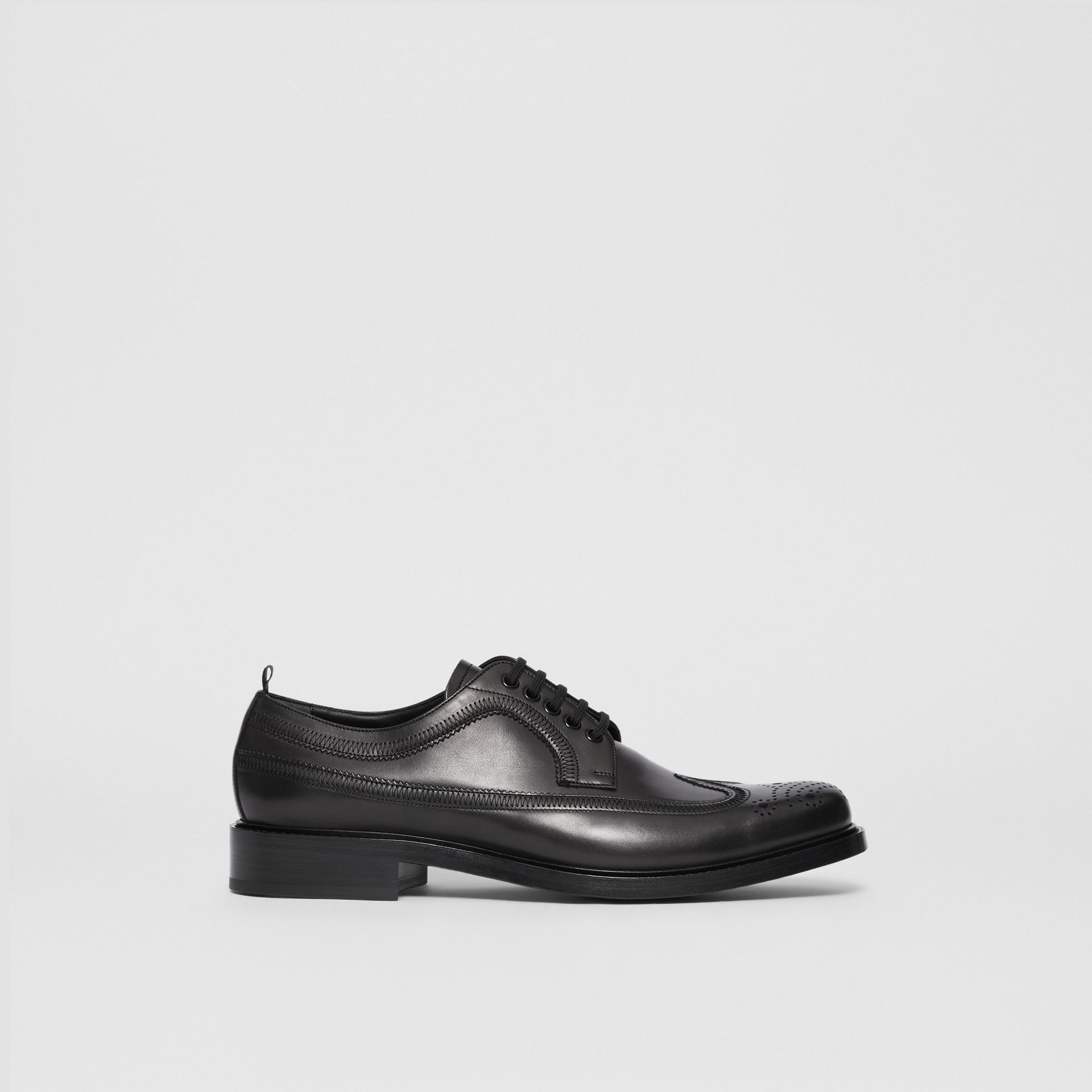 Brogue Detail Leather Derby Shoes in Black - Men | Burberry - gallery image 5