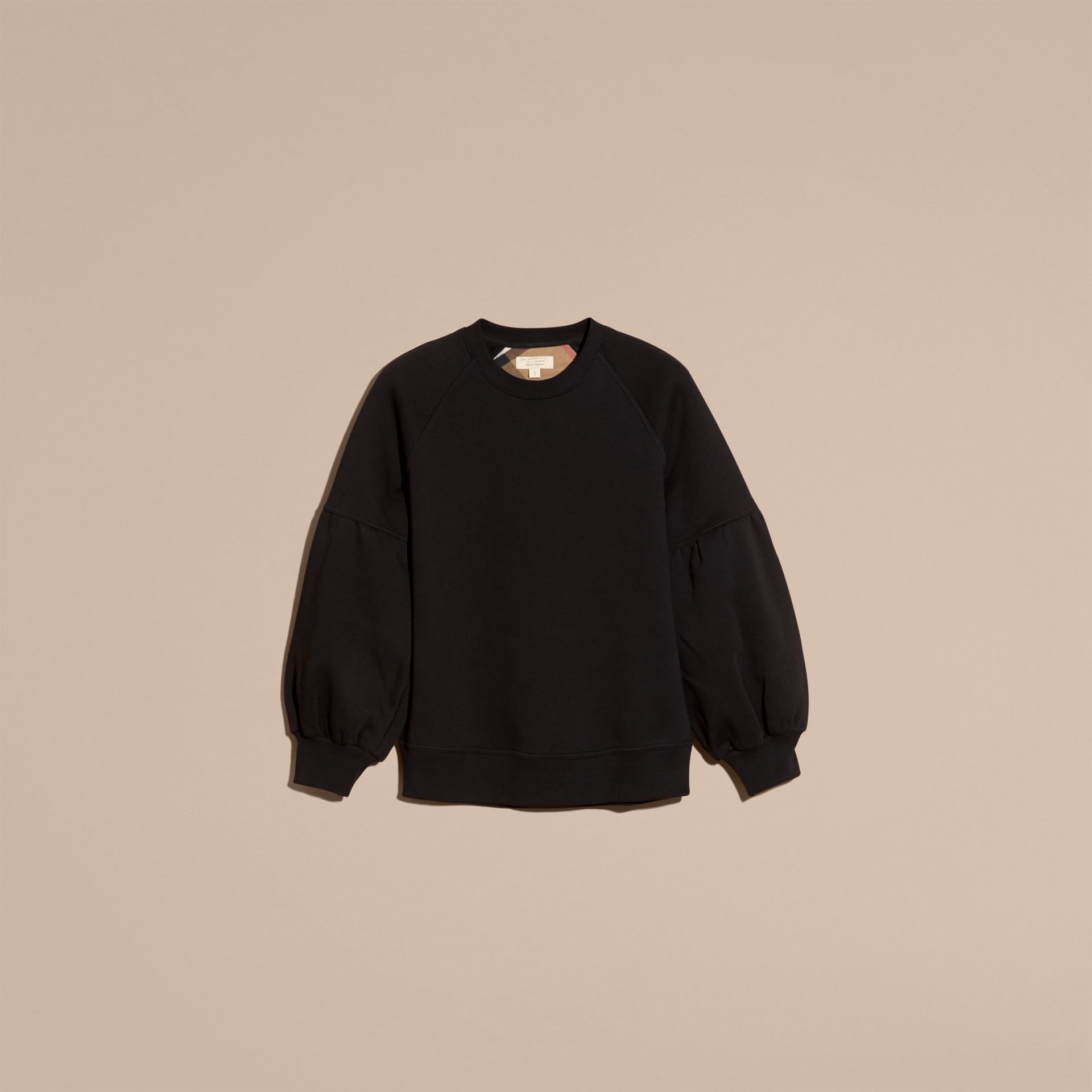 Black Brushed-back Jersey Sweatshirt with Bell Sleeves Black - gallery image 4