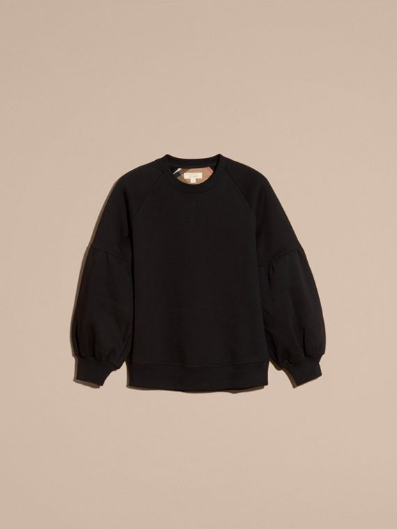 Brushed-back Jersey Sweatshirt with Bell Sleeves Black - cell image 3