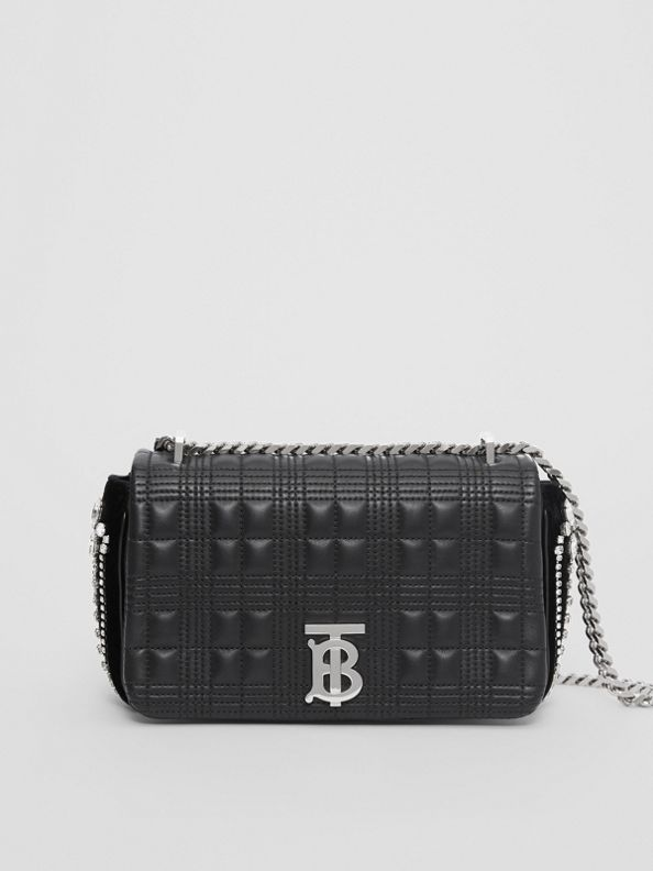 Small Crystal Detail Quilted Lambskin Lola Bag in Black