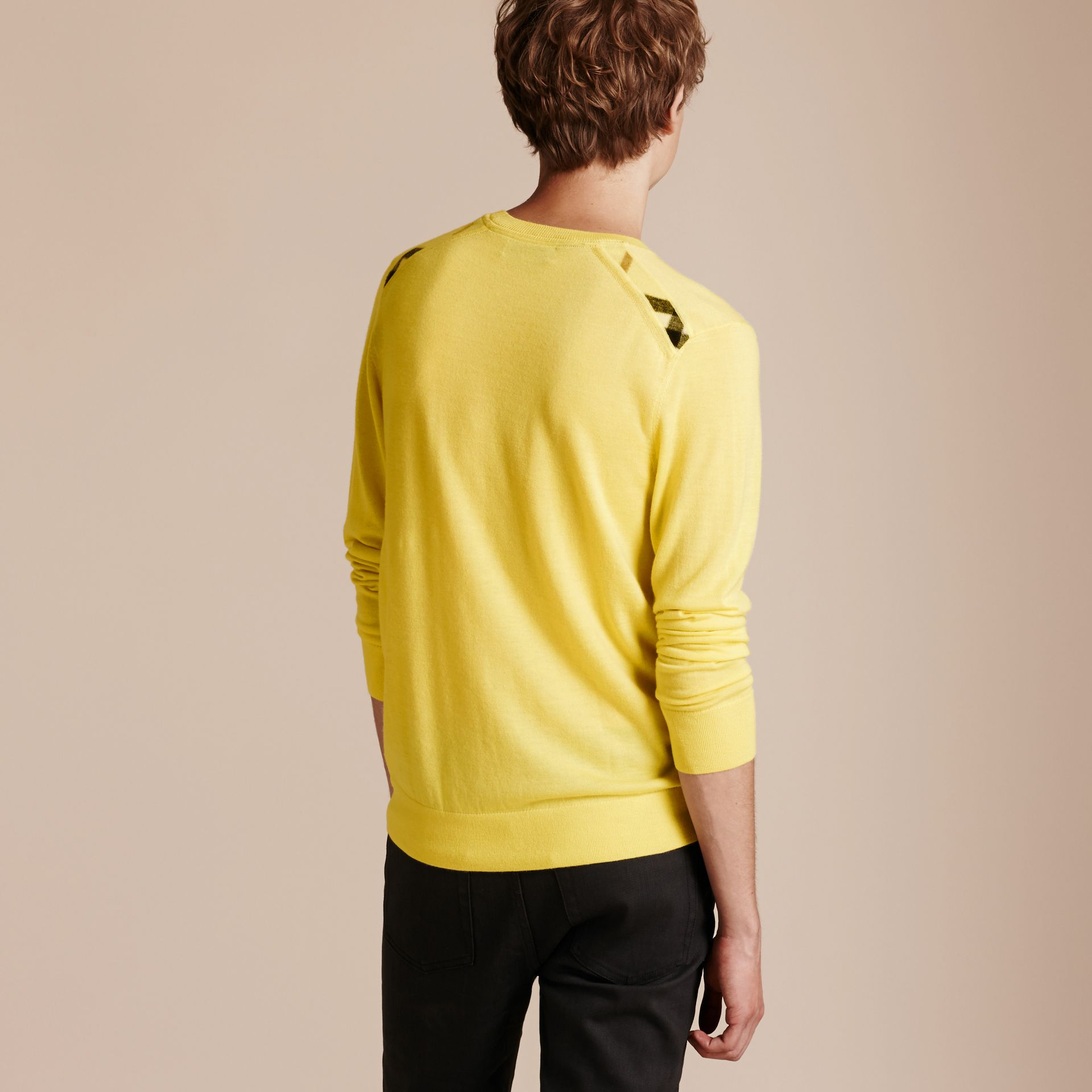 Lightweight Crew Neck Cashmere Sweater with Check Trim Pale Lemon - gallery image 3