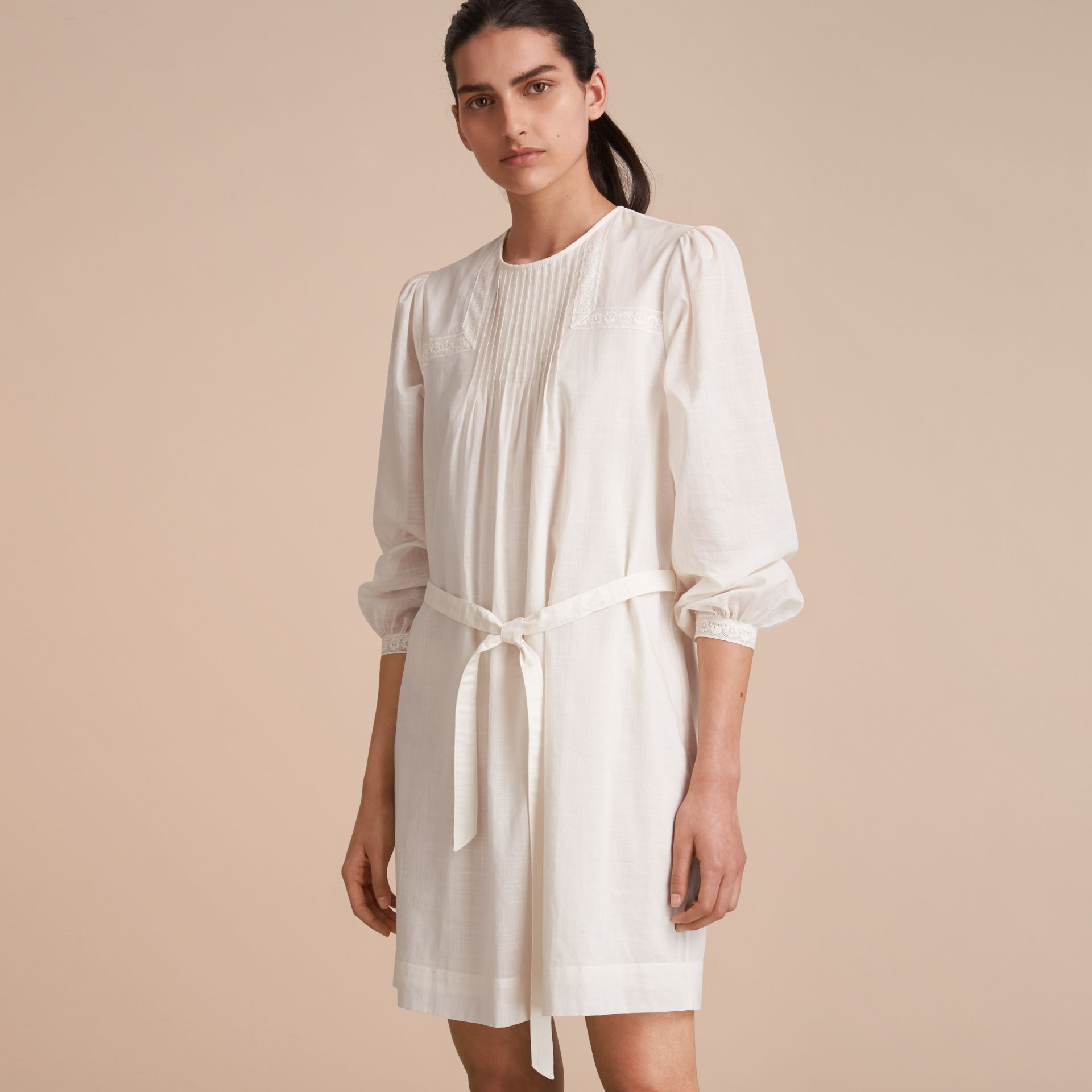 Pintuck and Lace Detail Cotton Dress in Natural White - Women | Burberry - gallery image 6