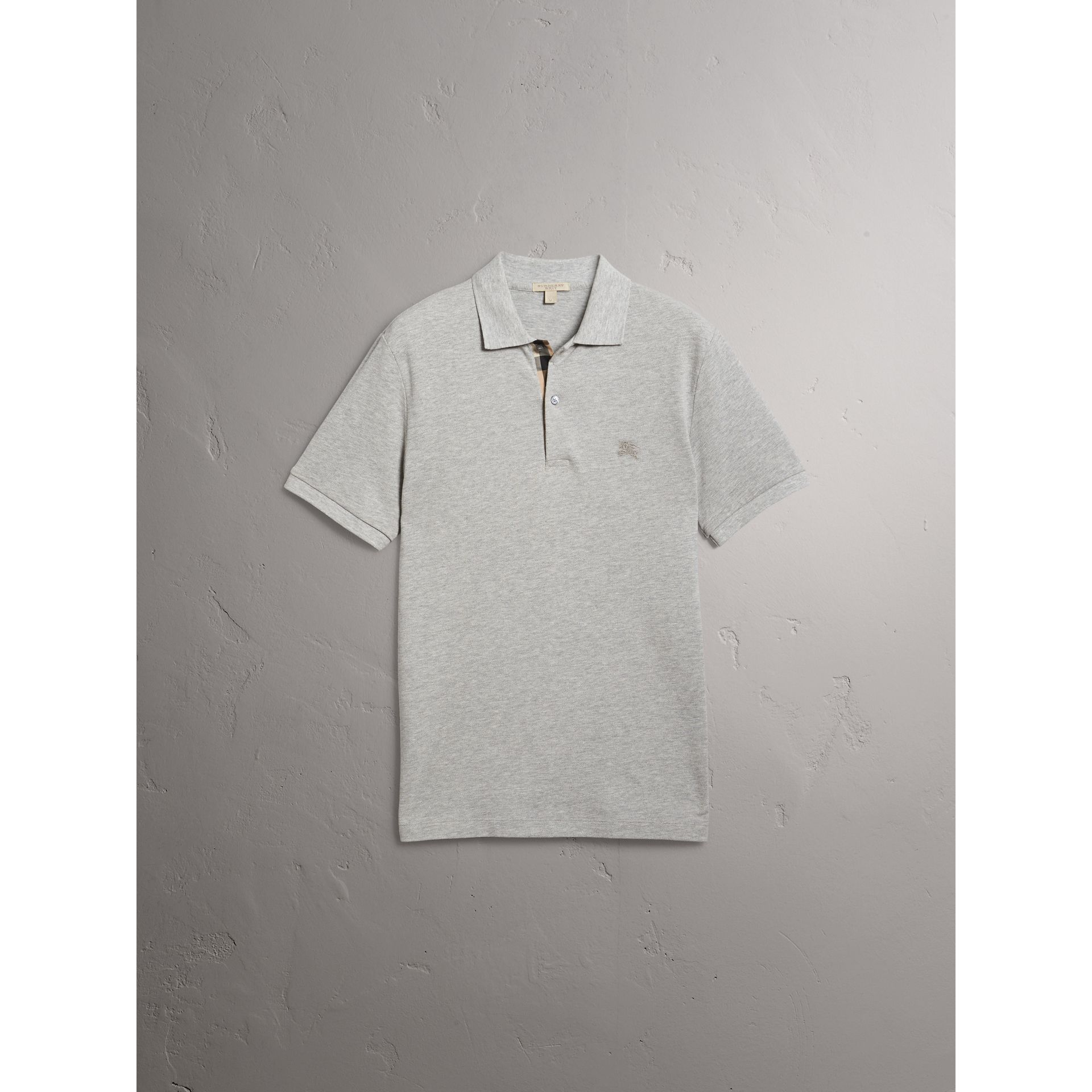 Check Placket Cotton Piqué Polo Shirt in Pale Grey Melange - Men | Burberry - gallery image 3