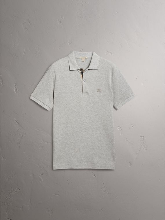 Check Placket Cotton Piqué Polo Shirt in Pale Grey Melange - Men | Burberry - cell image 3