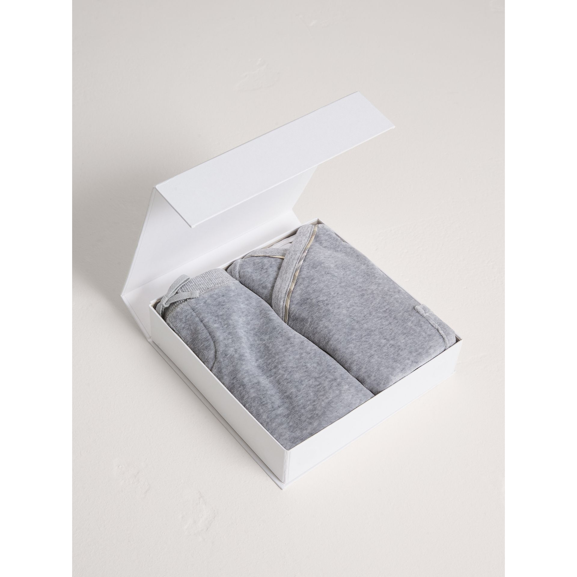 Stretch Jersey Two-piece Baby Gift Set in Grey Melange | Burberry - gallery image 2