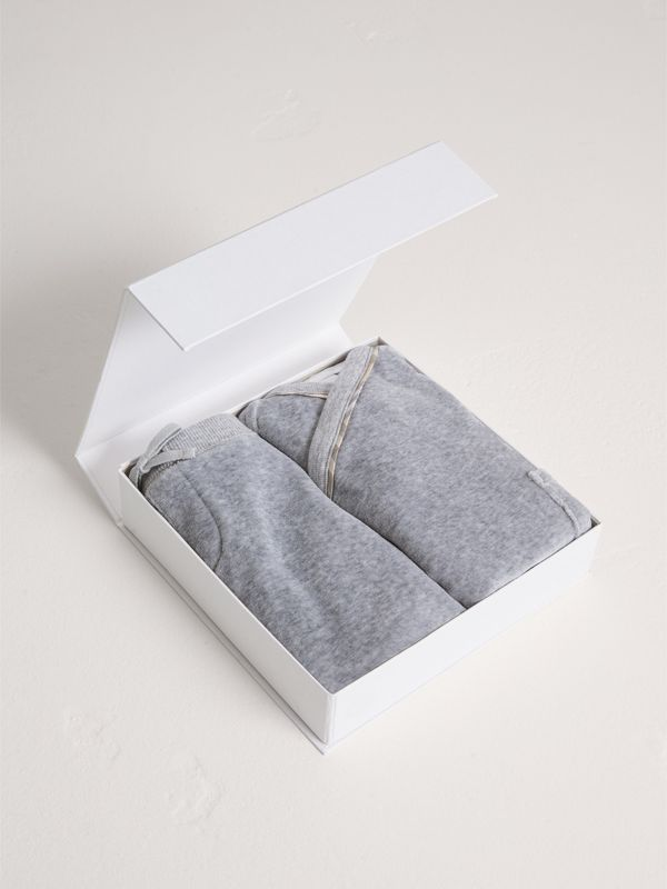Stretch Jersey Two-piece Baby Gift Set in Grey Melange | Burberry - cell image 2
