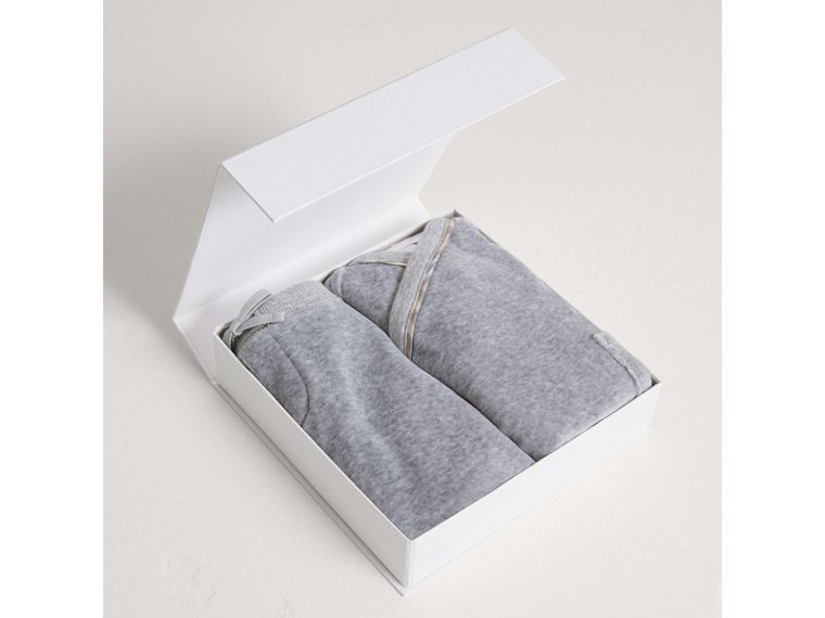 Stretch Jersey Two-piece Baby Gift Set in Grey Melange | Burberry Singapore - cell image 2