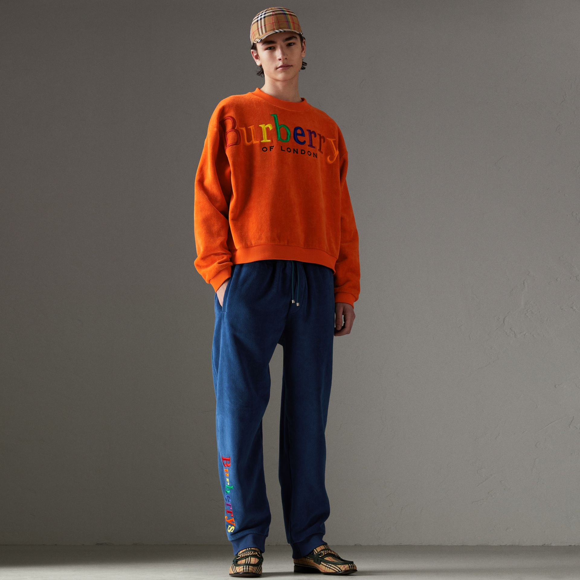 Archive Logo Towelling Sweatshirt in Tangerine | Burberry United Kingdom - gallery image 0