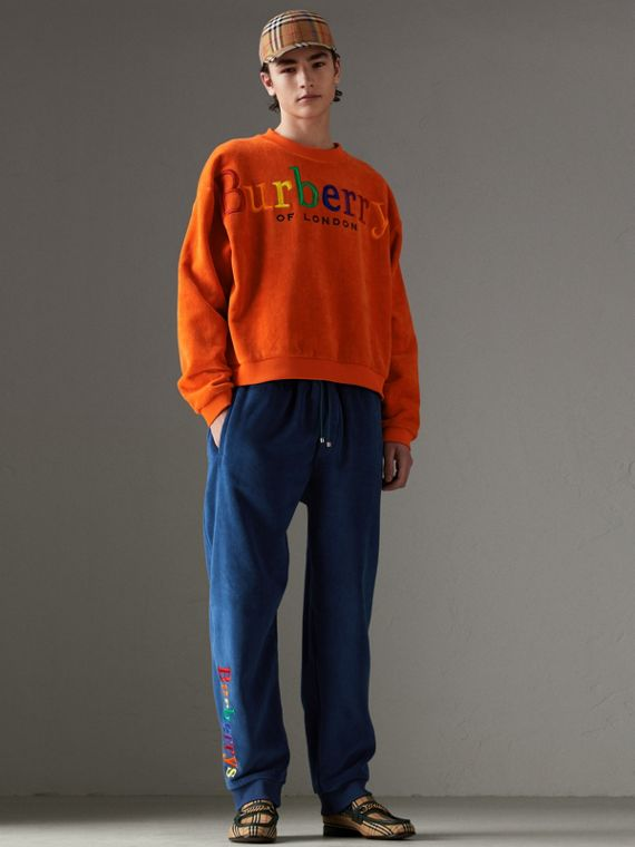 Archive Logo Towelling Sweatshirt in Tangerine