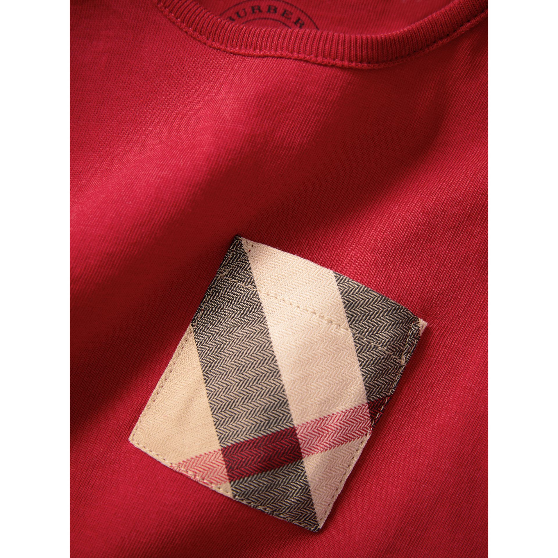 Check Pocket Cotton T-shirt in Military Red | Burberry - gallery image 1