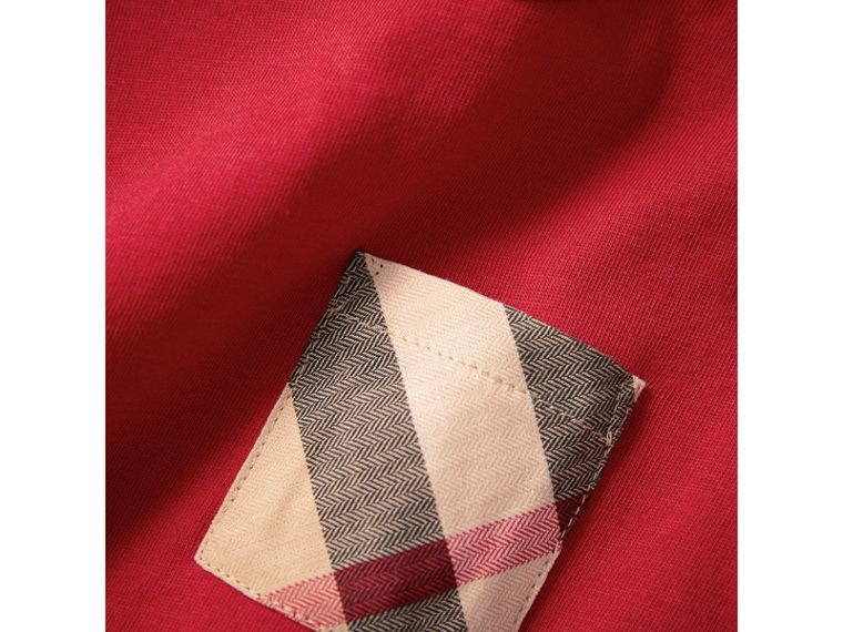 Check Pocket Cotton T-shirt in Military Red | Burberry - cell image 1