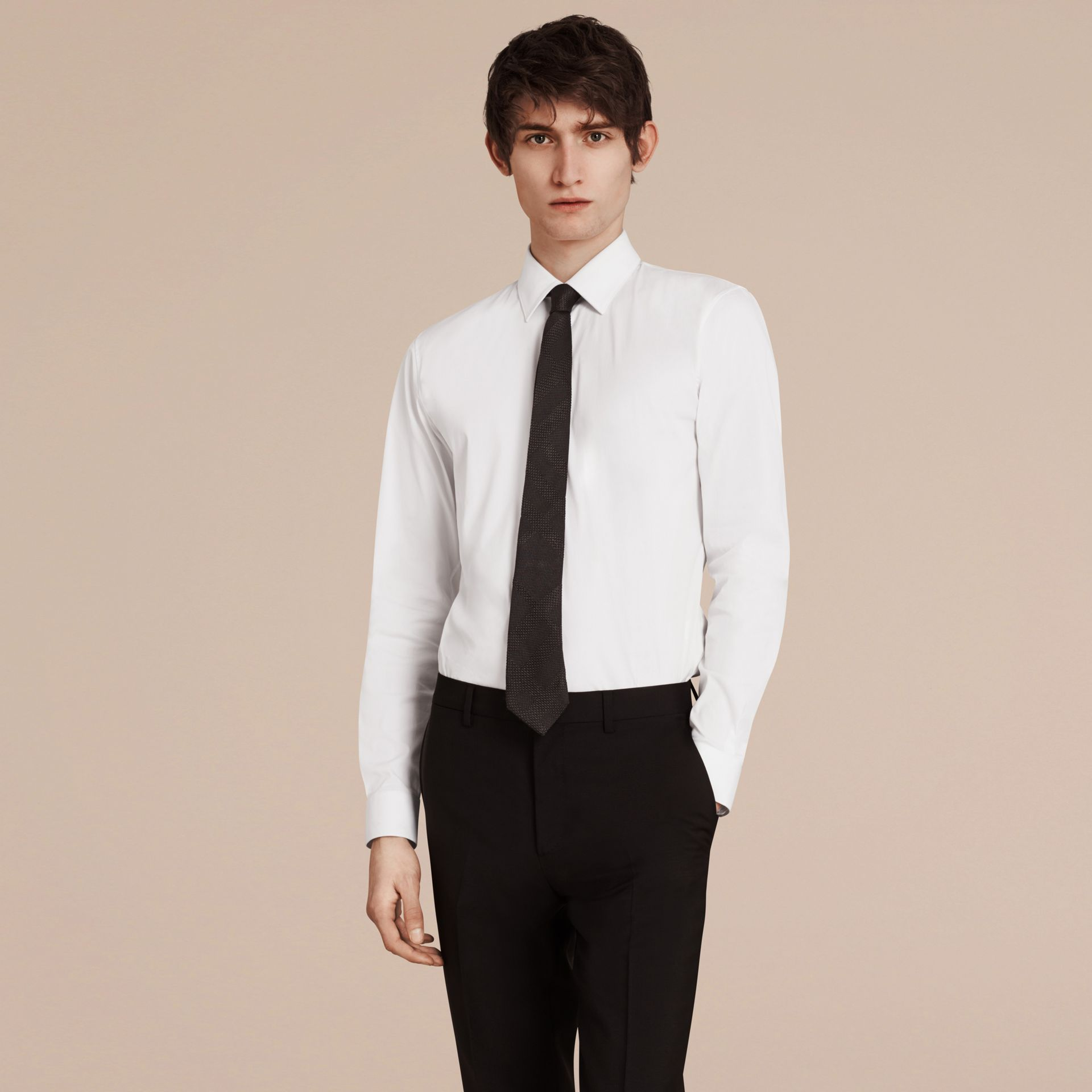 Slim Fit Stretch Cotton Shirt in White - Men | Burberry - gallery image 4