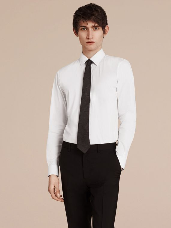 Slim Fit Stretch Cotton Shirt in White - Men | Burberry Singapore - cell image 3