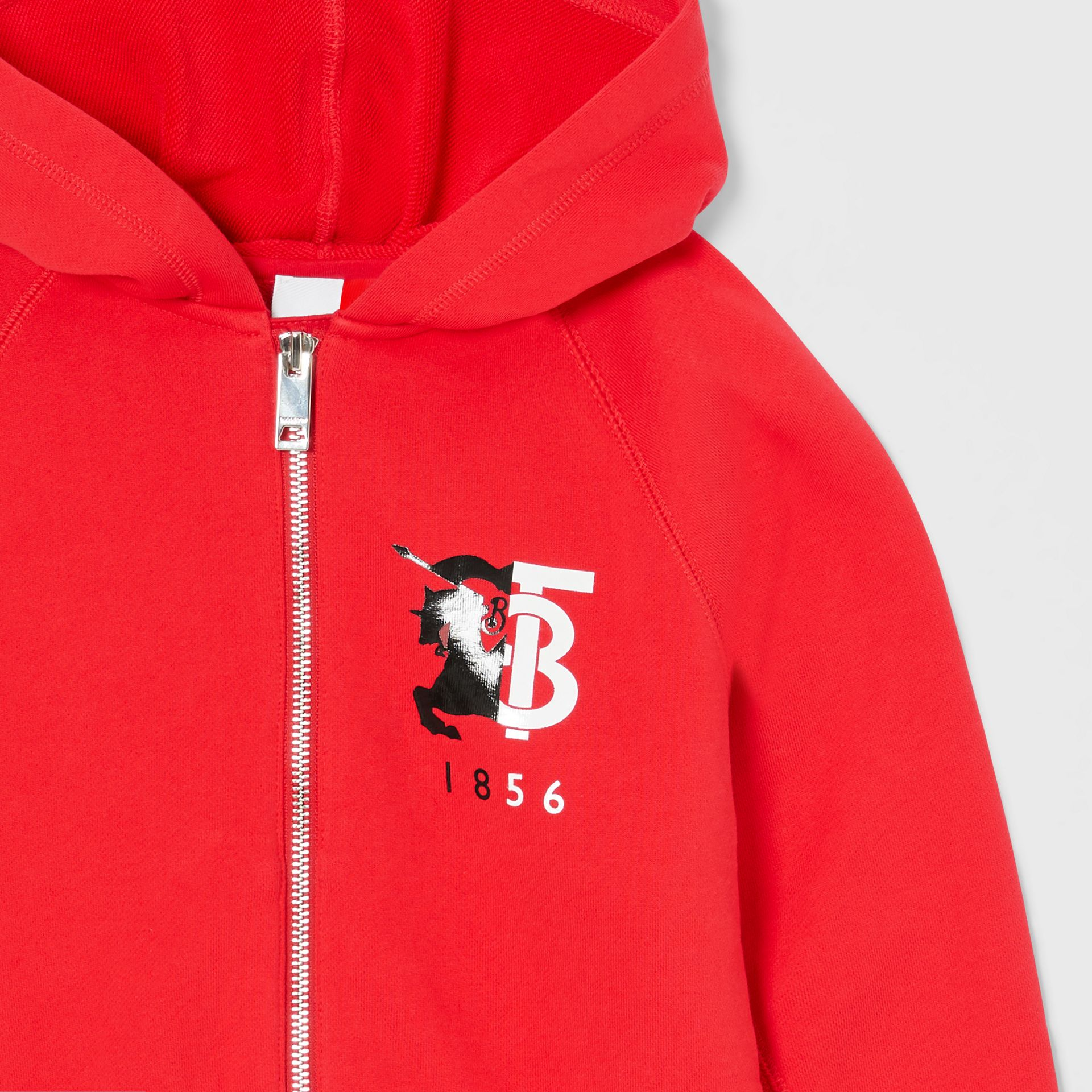 Contrast Logo Graphic Cotton Hooded Top in Bright Red | Burberry - gallery image 4