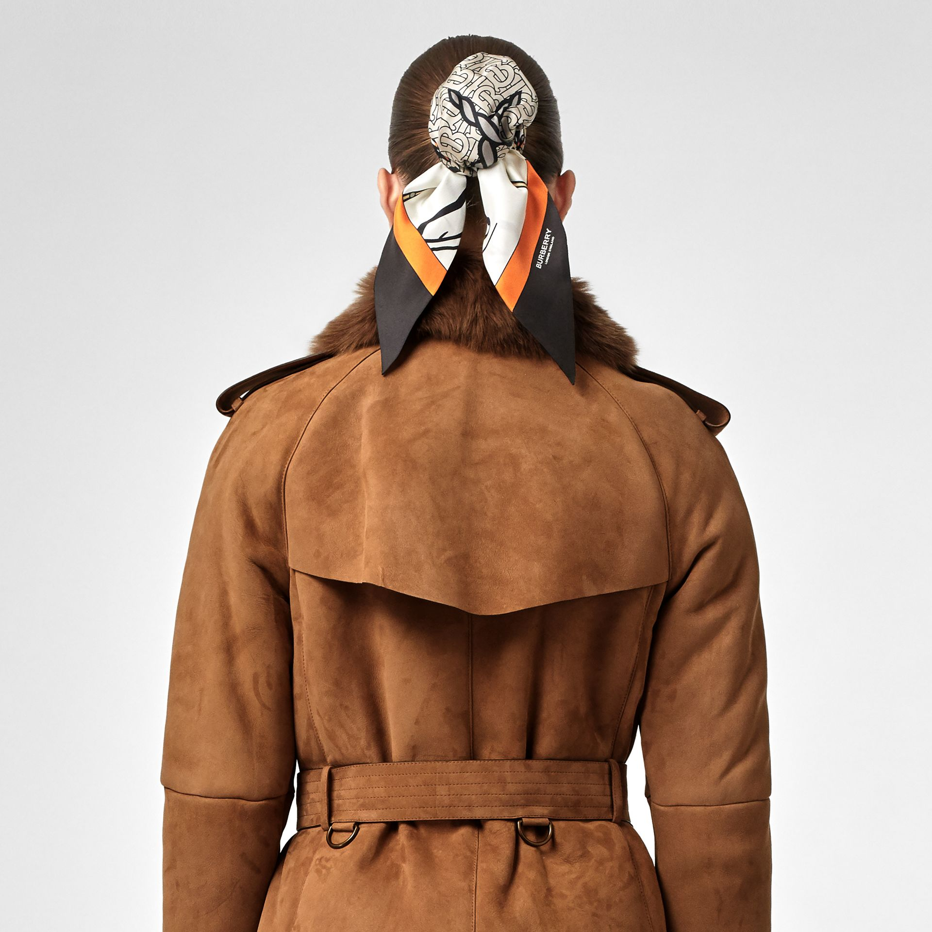 Shearling Trench Coat in Dark Camel - Women | Burberry Canada - gallery image 6
