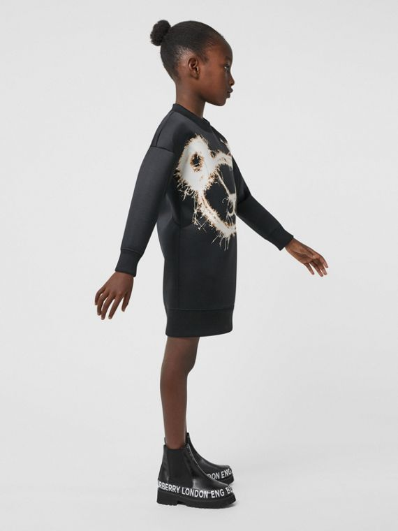 Sparkler Print Recycled Polyester Sweater Dress in Black