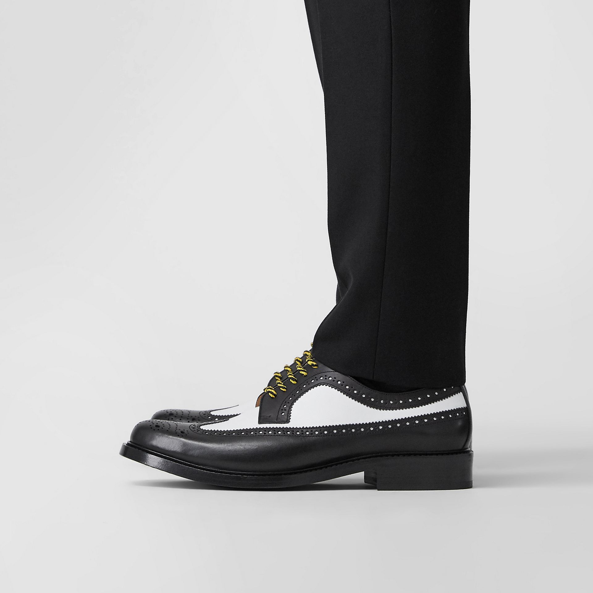 Brogue Detail Two-tone Leather Derby Shoes in Black/optic White - Men | Burberry - gallery image 2