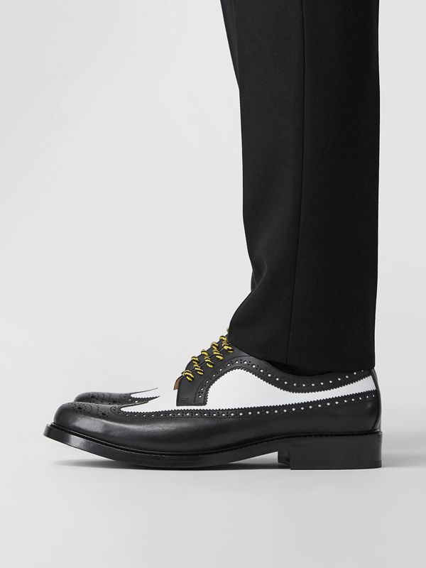 Brogue Detail Two-tone Leather Derby Shoes in Black/optic White - Men | Burberry - cell image 2