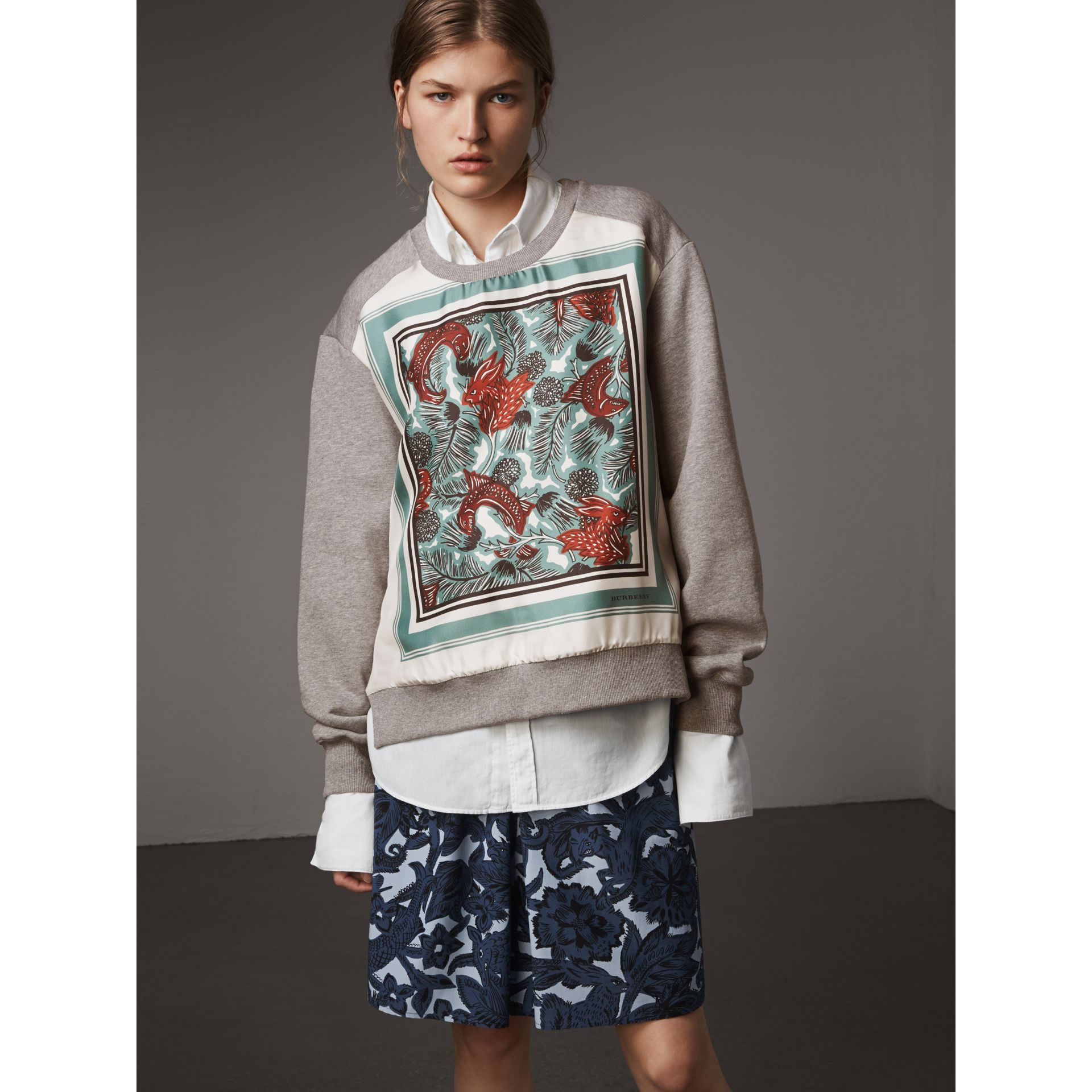 Beasts Print Silk Panel Jersey Sweatshirt in Pale Grey Melange - Women | Burberry - gallery image 1