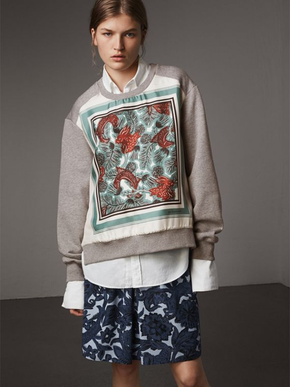 Beasts Print Silk Panel Jersey Sweatshirt in Pale Grey Melange