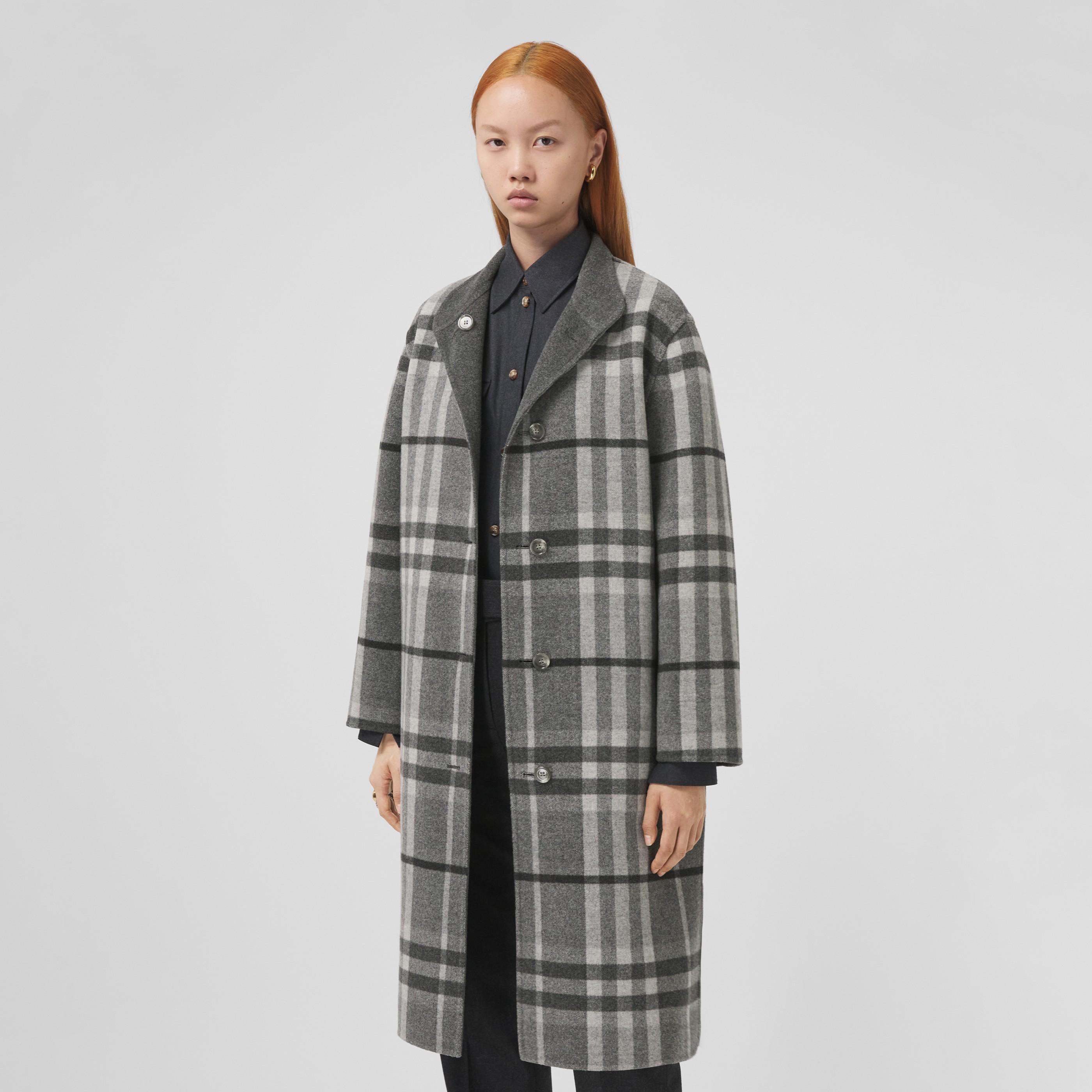 Cappotto reversibile in lana con motivo tartan (Grigio Scisto) - Donna | Burberry - 7
