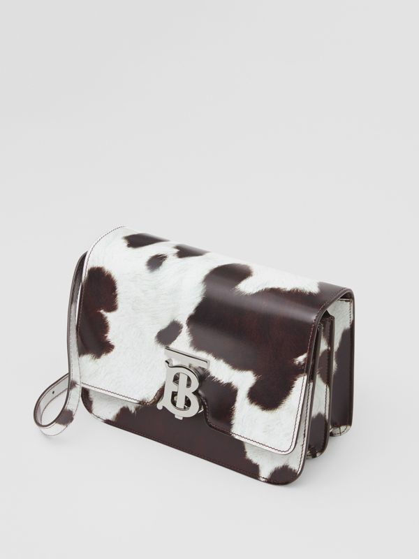 Small Cow Print Leather TB Bag in Mahogany Red - Women | Burberry United States - cell image 3
