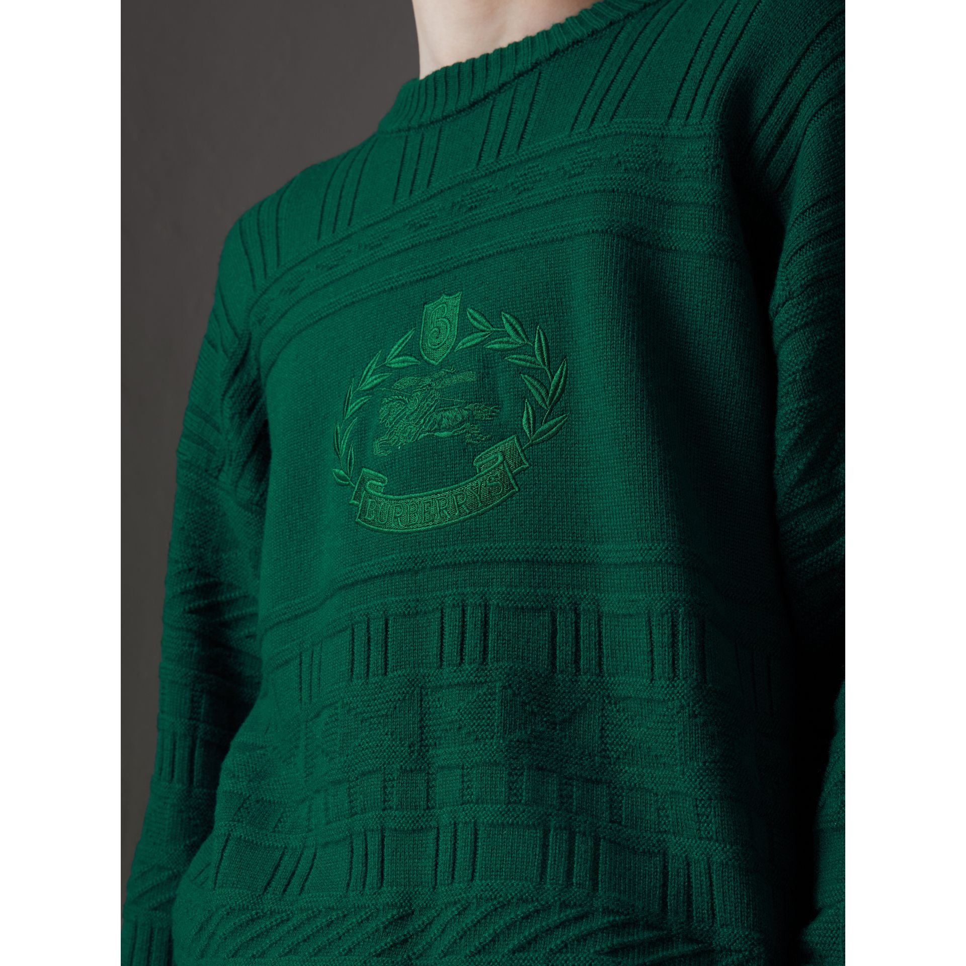 Reissued Wool Sweater in Dark Green - Men | Burberry United Kingdom - gallery image 1