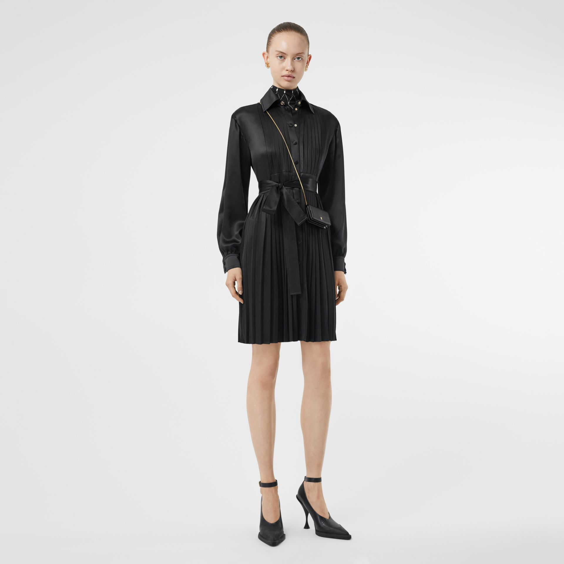 Pleated Silk Satin and Jersey Tie-waist Shirt Dress in Black - Women | Burberry - gallery image 0