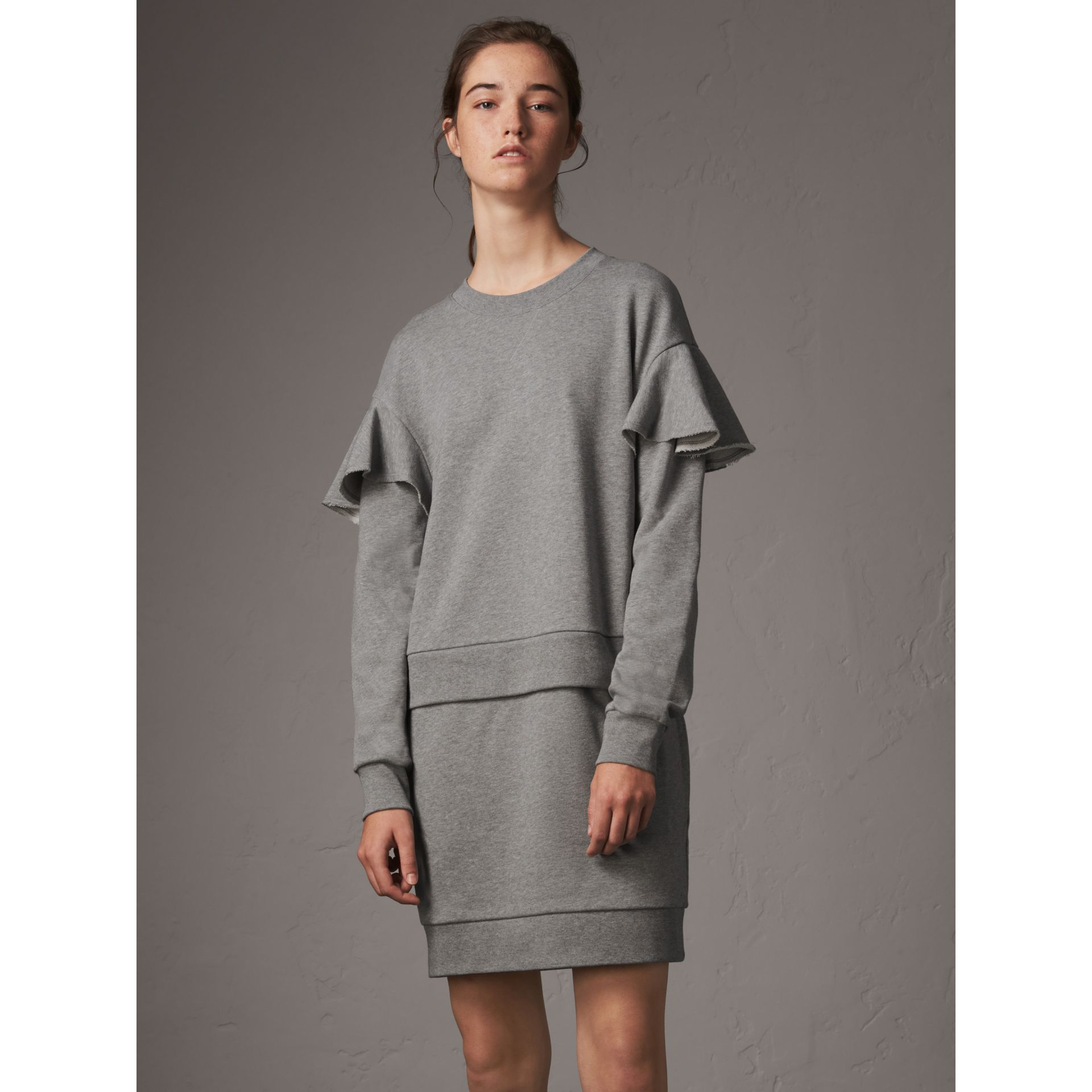 Ruffle-sleeve Cotton Sweater Dress in Pale Grey Melange - Women | Burberry - gallery image 1