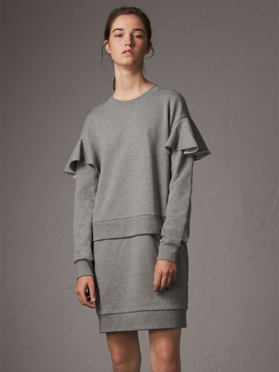 Ruffle-sleeve Cotton Sweater Dress in Pale Grey Melange