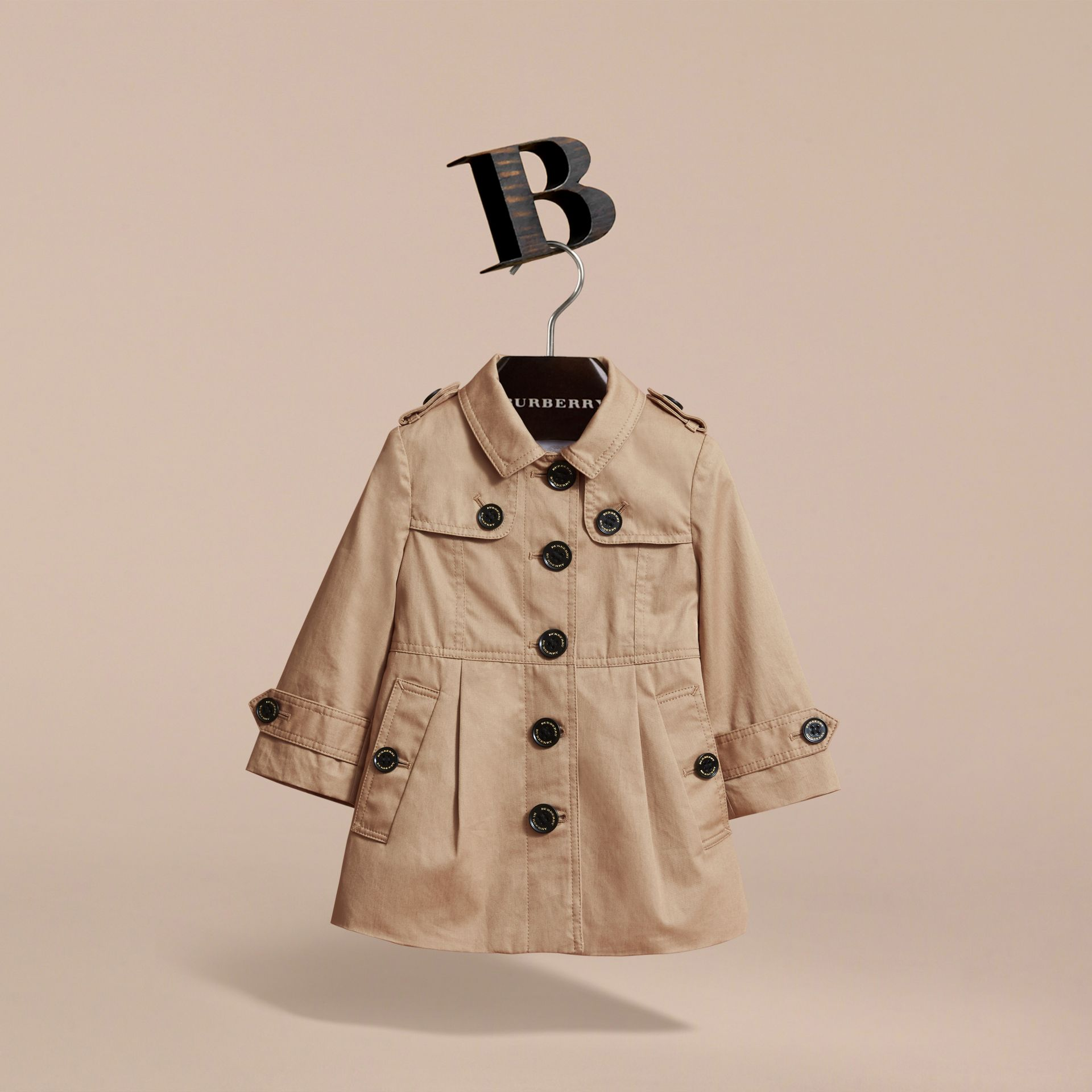 Cotton Single-breasted Trench Coat in Honey | Burberry - gallery image 3
