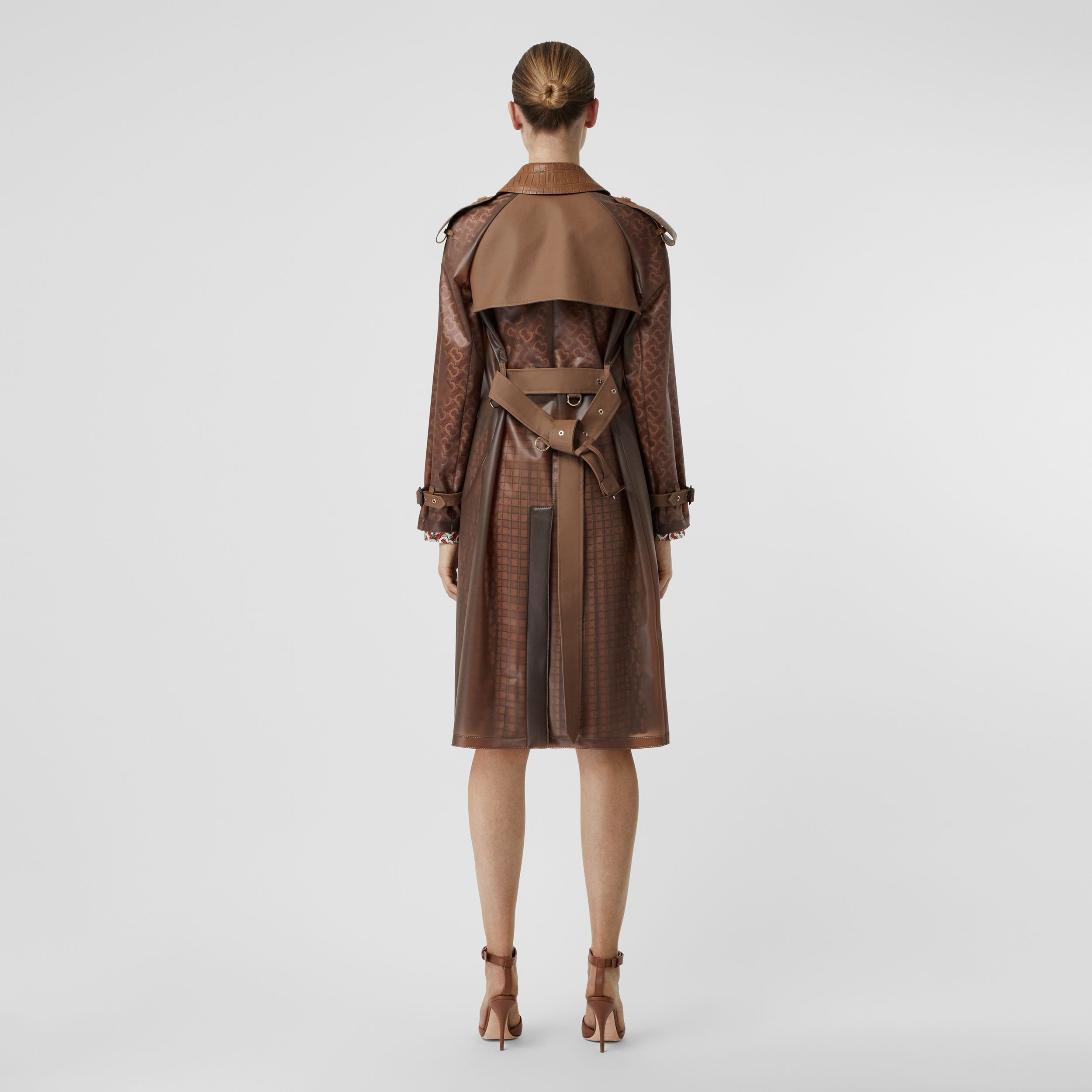 Leather Detail Showerproof Trench Coat in Flaxseed | Burberry - 3