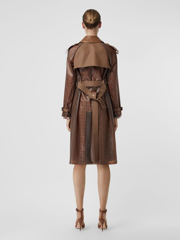 Leather Detail Showerproof Trench Coat in Flaxseed - Women | Burberry - cell image 2
