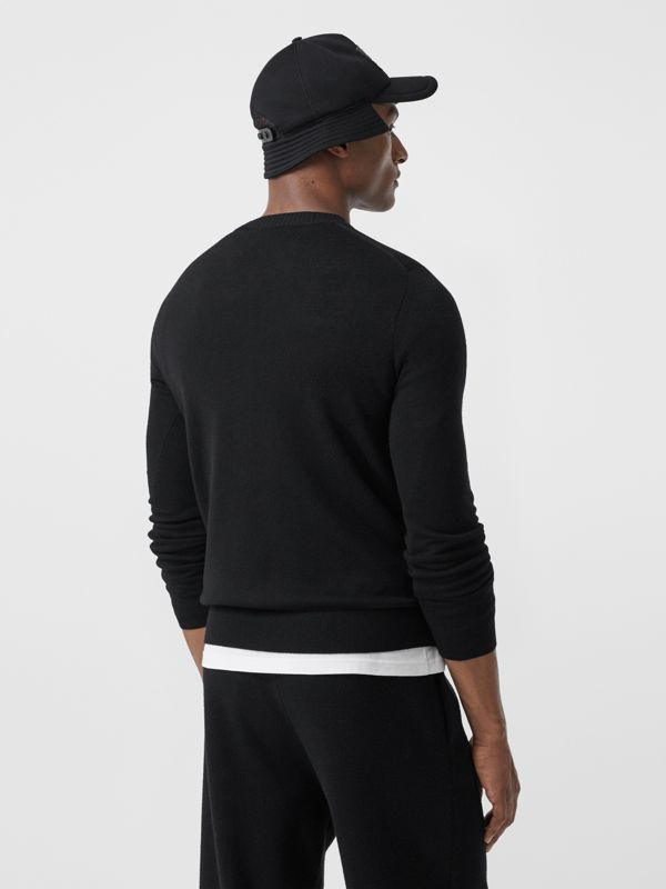 Rigging Intarsia Merino Wool Sweater in Black - Men | Burberry - cell image 2